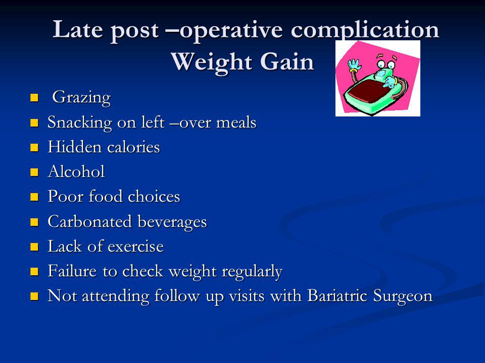 Late post –operative complication Weight Gain