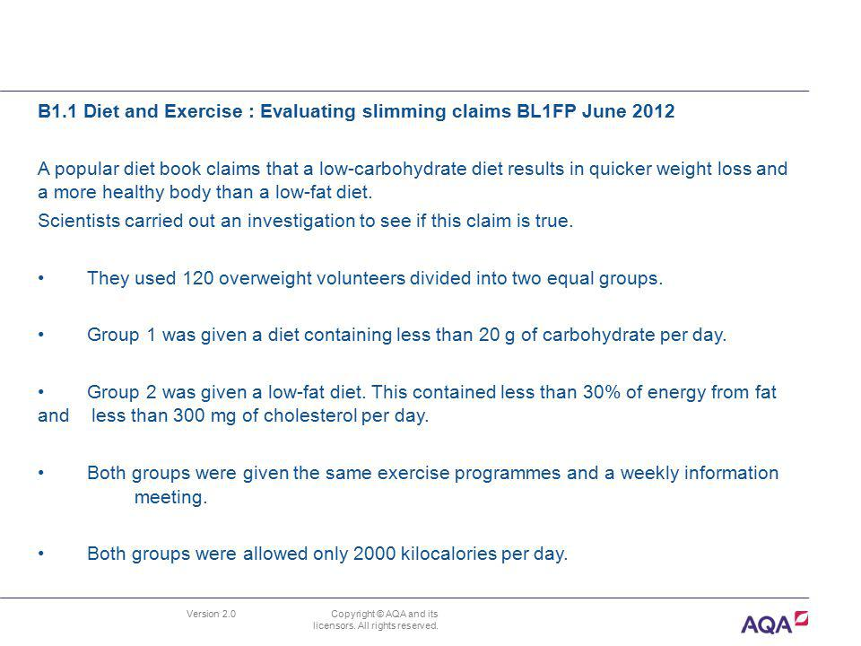B1.1 Diet and Exercise : Evaluating slimming claims BL1FP June 2012