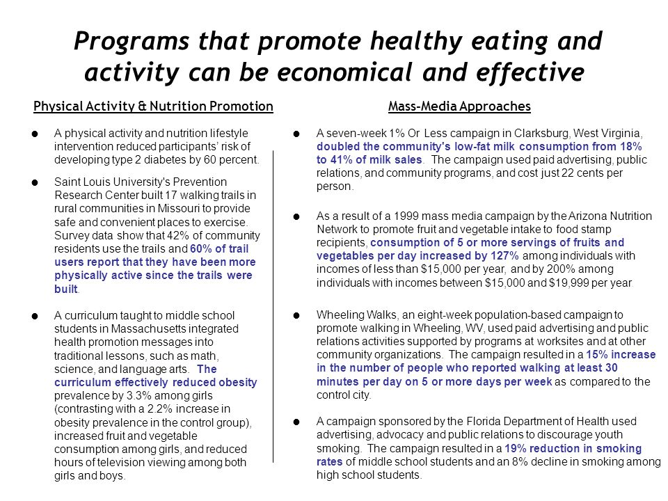 Physical Activity & Nutrition Promotion Mass-Media Approaches