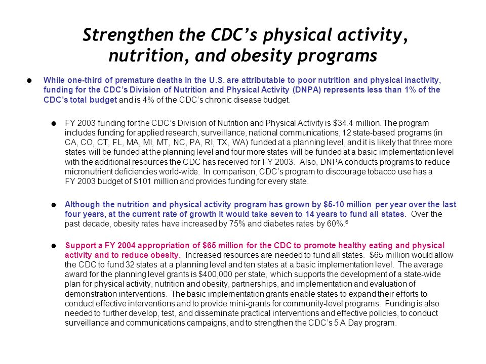 Strengthen the CDC's physical activity, nutrition, and obesity programs