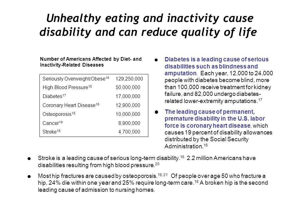 Unhealthy eating and inactivity cause disability and can reduce quality of life