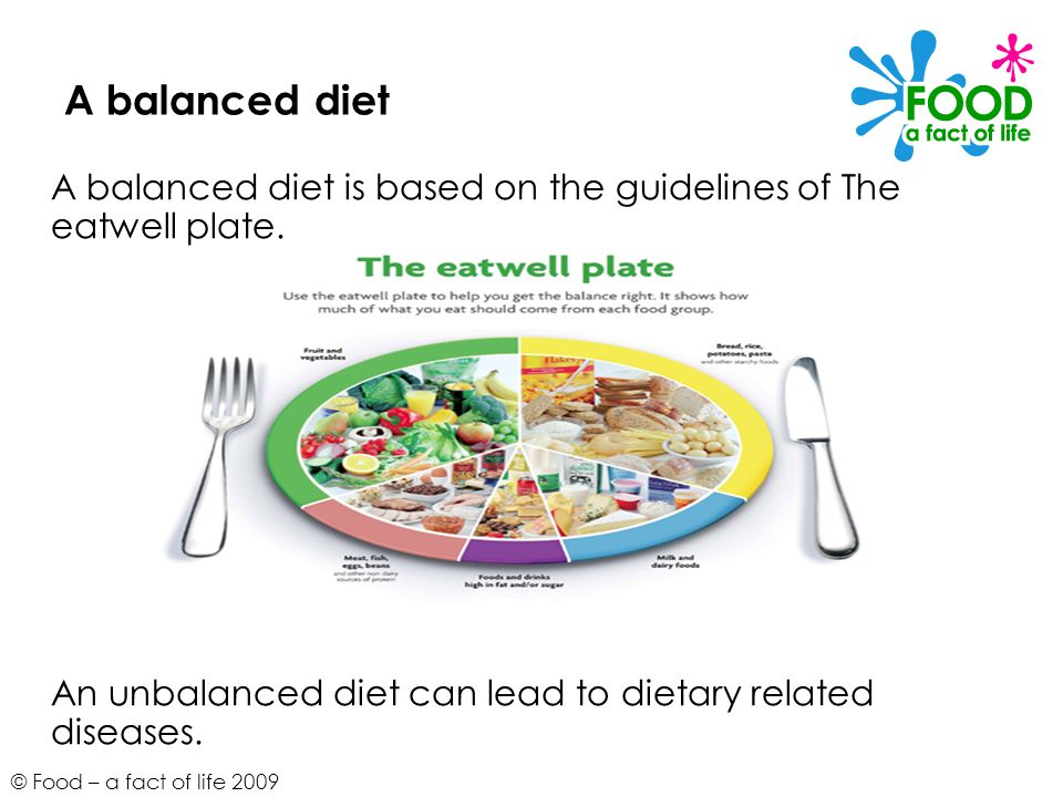 A balanced diet A balanced diet is based on the guidelines of The eatwell plate.