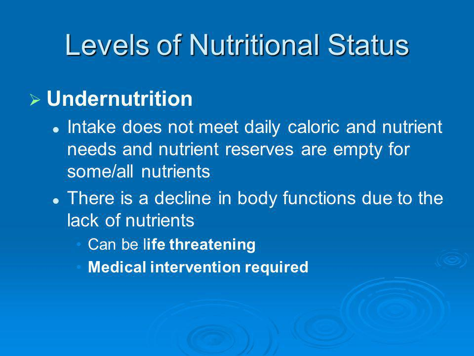 Levels of Nutritional Status