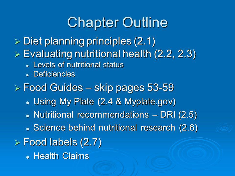 Chapter Outline Diet planning principles (2.1)