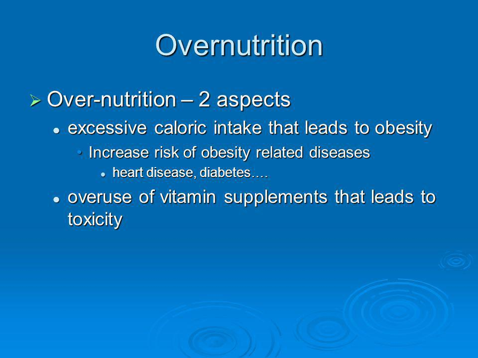 Overnutrition Over-nutrition – 2 aspects