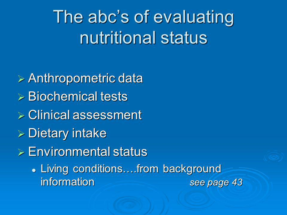 The abc's of evaluating nutritional status