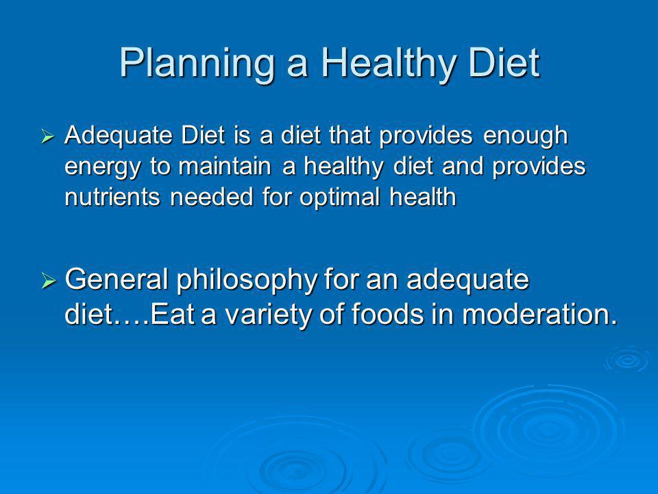 Planning a Healthy Diet