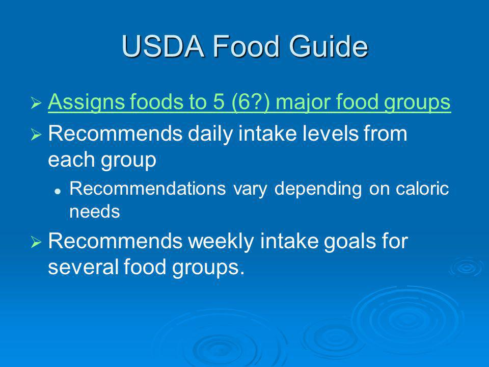 USDA Food Guide Assigns foods to 5 (6 ) major food groups