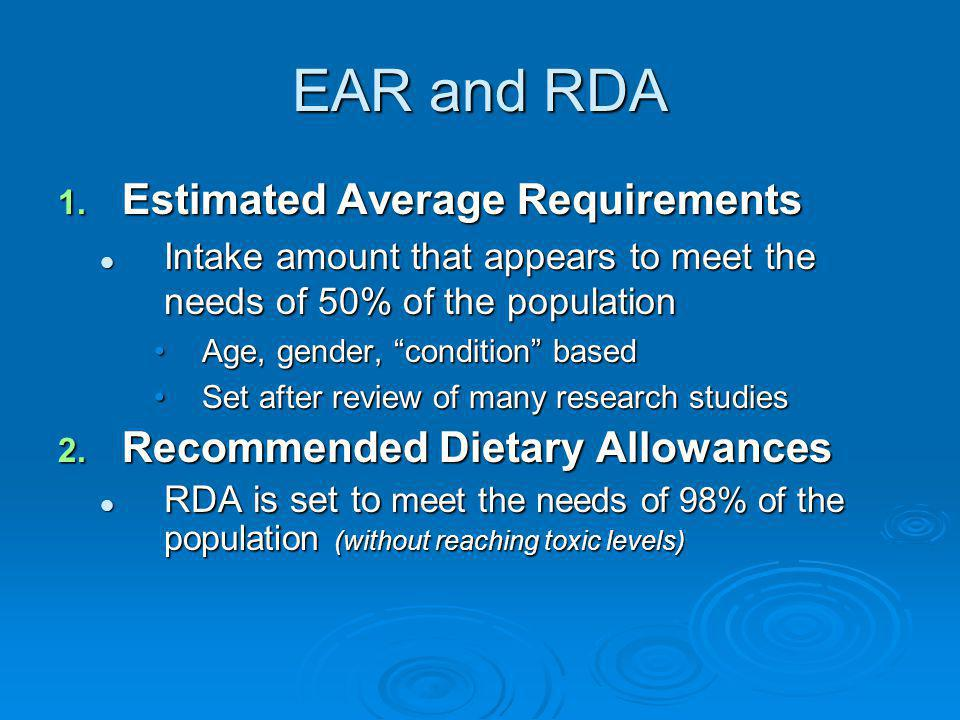EAR and RDA Estimated Average Requirements