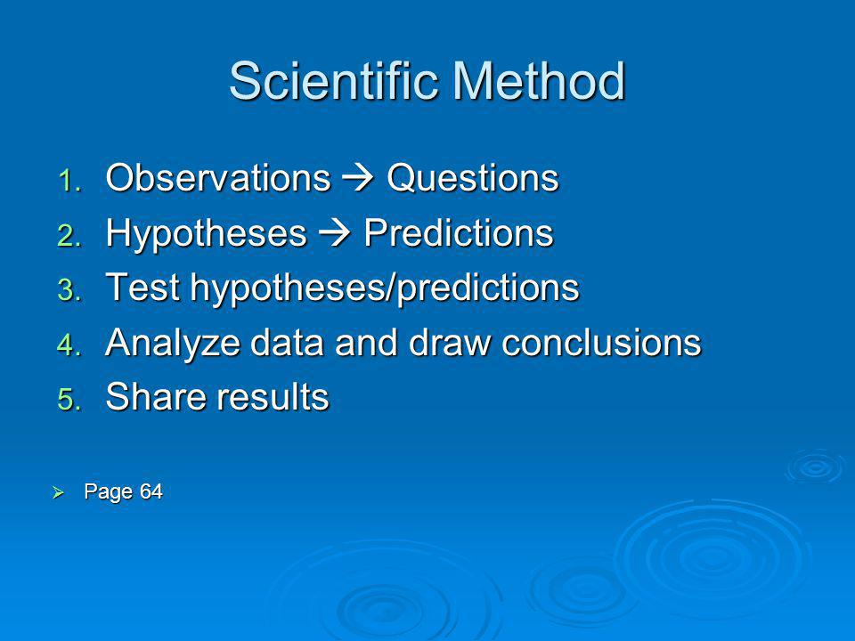 Scientific Method Observations  Questions Hypotheses  Predictions