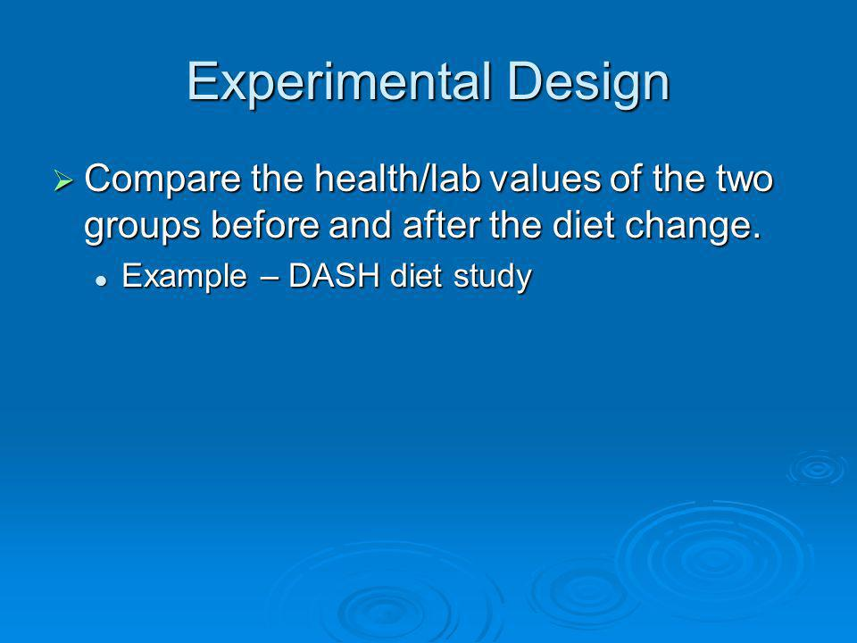 Experimental Design Compare the health/lab values of the two groups before and after the diet change.
