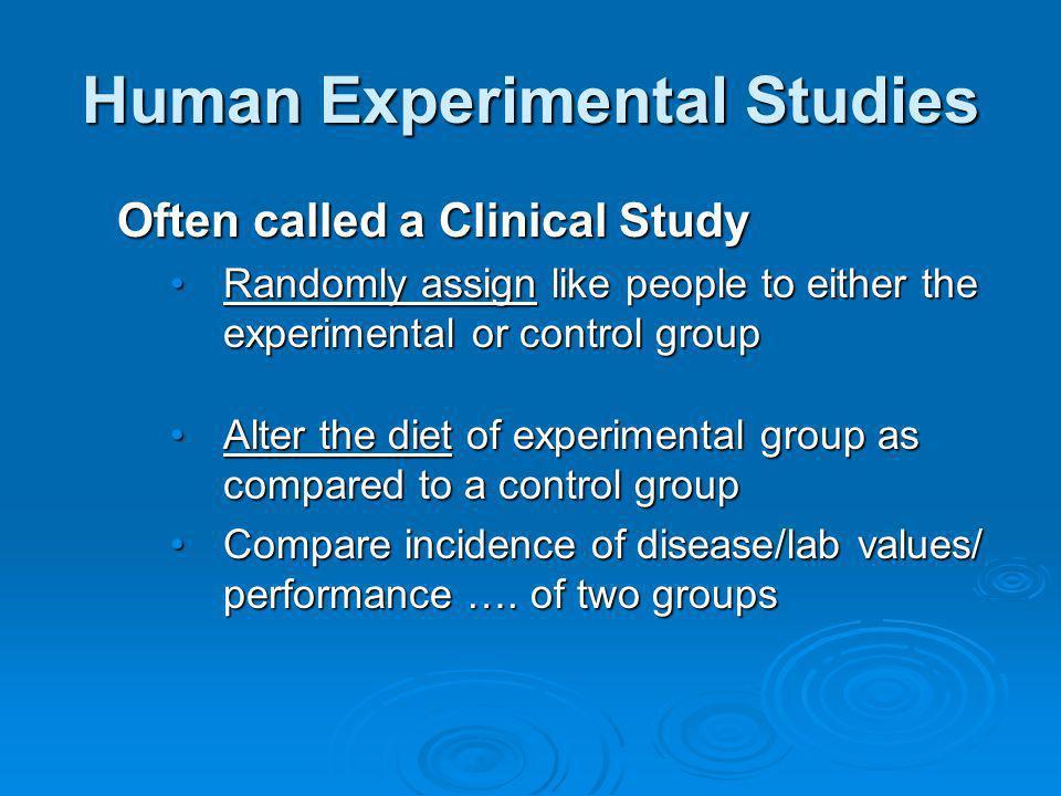 Human Experimental Studies