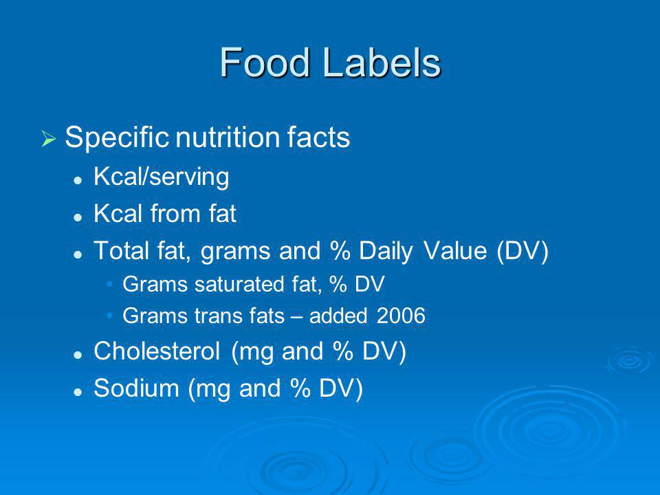 Food Labels Specific nutrition facts Kcal/serving Kcal from fat