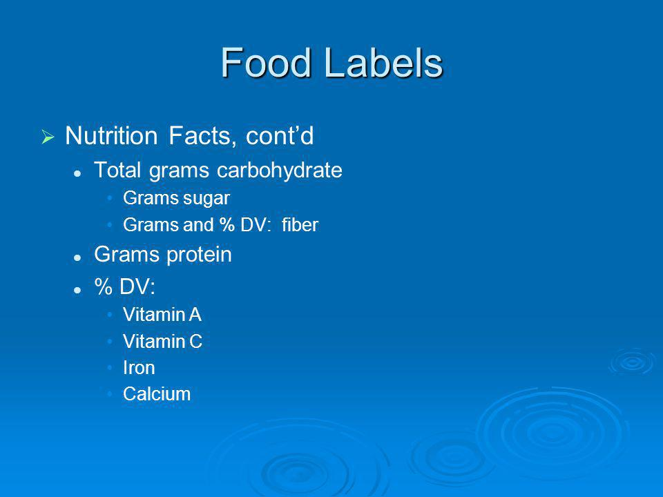 Food Labels Nutrition Facts, cont'd Total grams carbohydrate