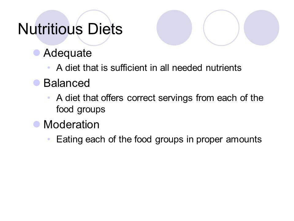 Nutritious Diets Adequate Balanced Moderation