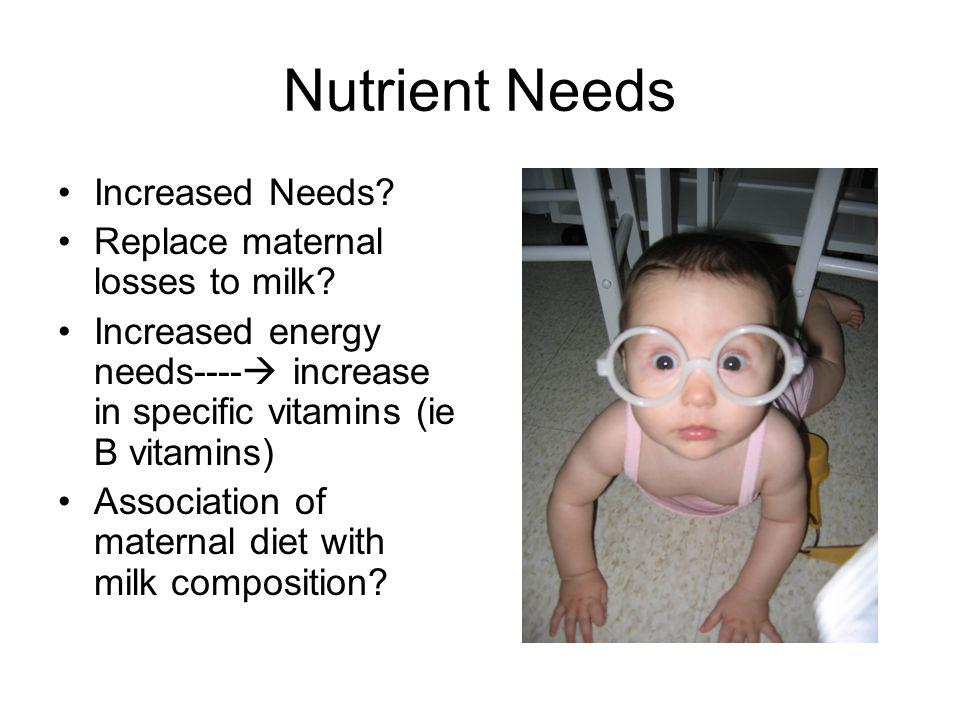 Nutrient Needs Increased Needs Replace maternal losses to milk
