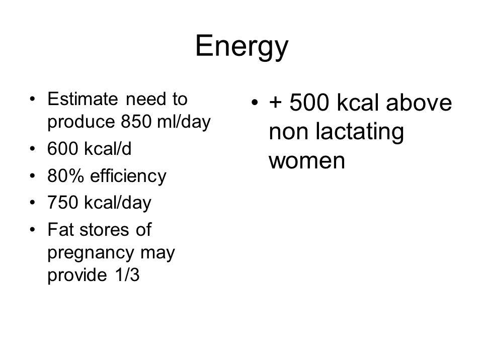 Energy + 500 kcal above non lactating women