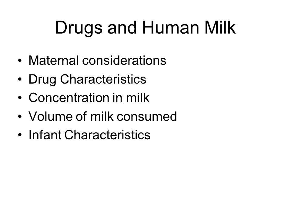 Drugs and Human Milk Maternal considerations Drug Characteristics