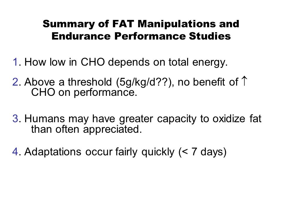 Summary of FAT Manipulations and Endurance Performance Studies