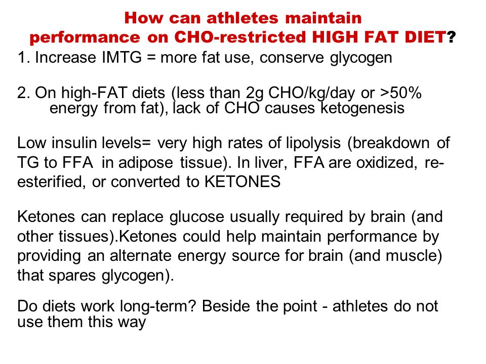 How can athletes maintain performance on CHO-restricted HIGH FAT DIET