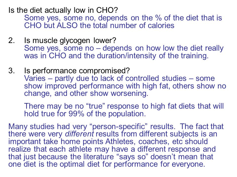 Is the diet actually low in CHO