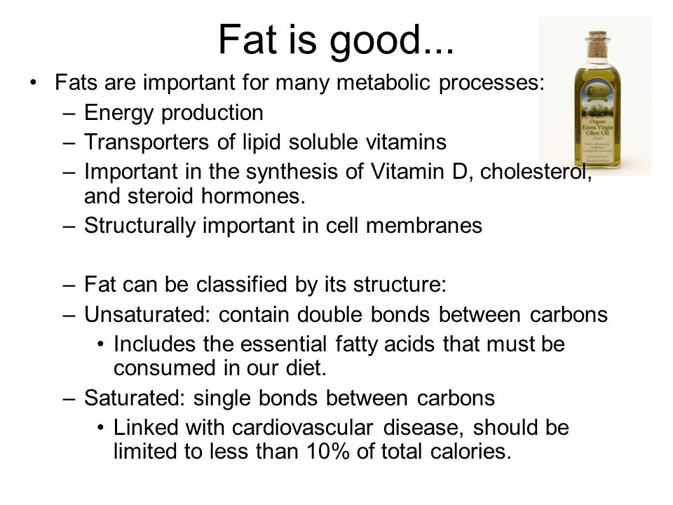 Fat is good... Fats are important for many metabolic processes: