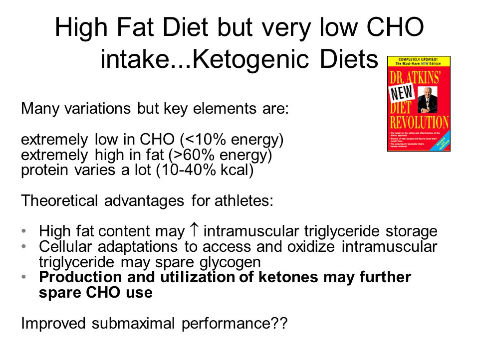 High Fat Diet but very low CHO intake...Ketogenic Diets