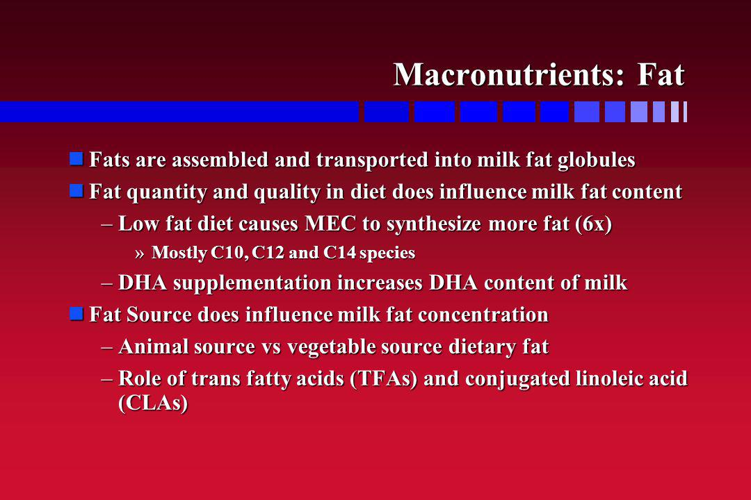 Macronutrients: Fat Fats are assembled and transported into milk fat globules. Fat quantity and quality in diet does influence milk fat content.