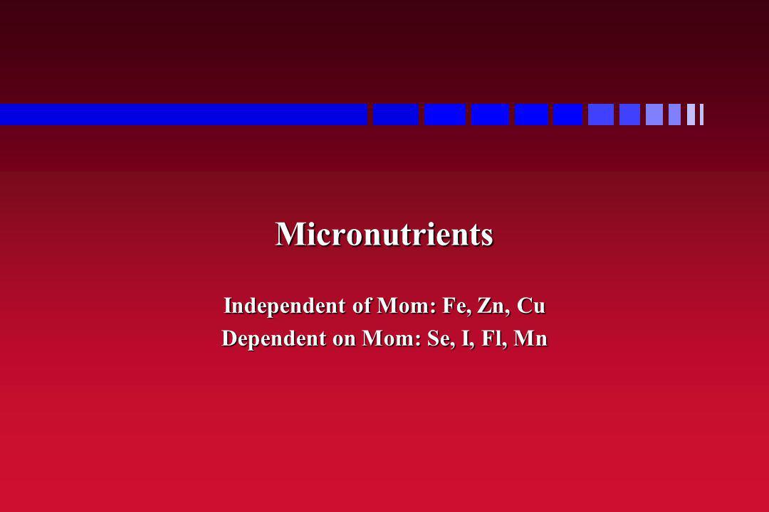Independent of Mom: Fe, Zn, Cu Dependent on Mom: Se, I, Fl, Mn