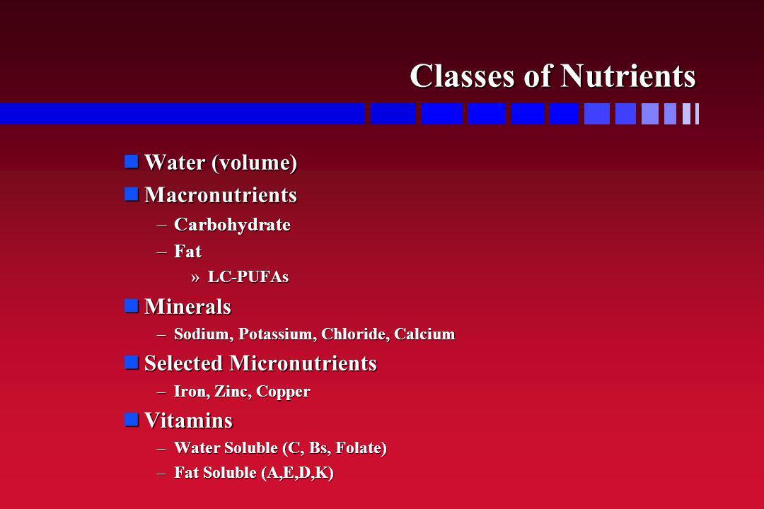 Classes of Nutrients Water (volume) Macronutrients Minerals