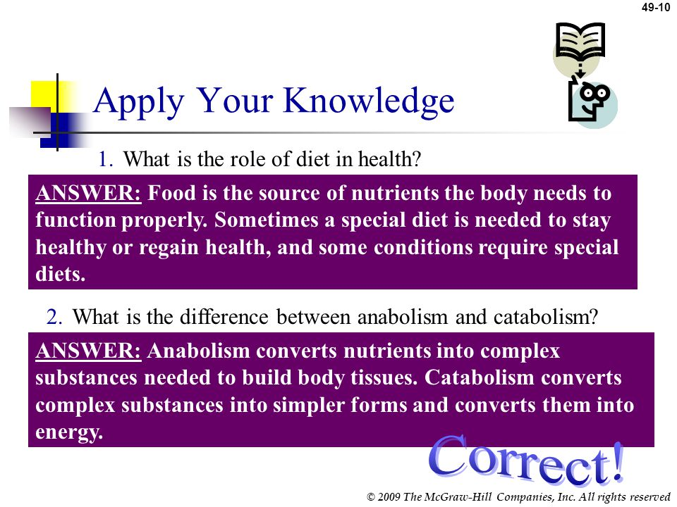 Apply Your Knowledge Correct! What is the role of diet in health