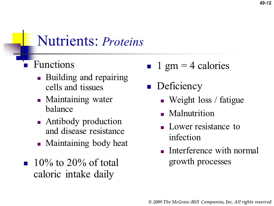 Nutrients: Proteins Functions 10% to 20% of total caloric intake daily