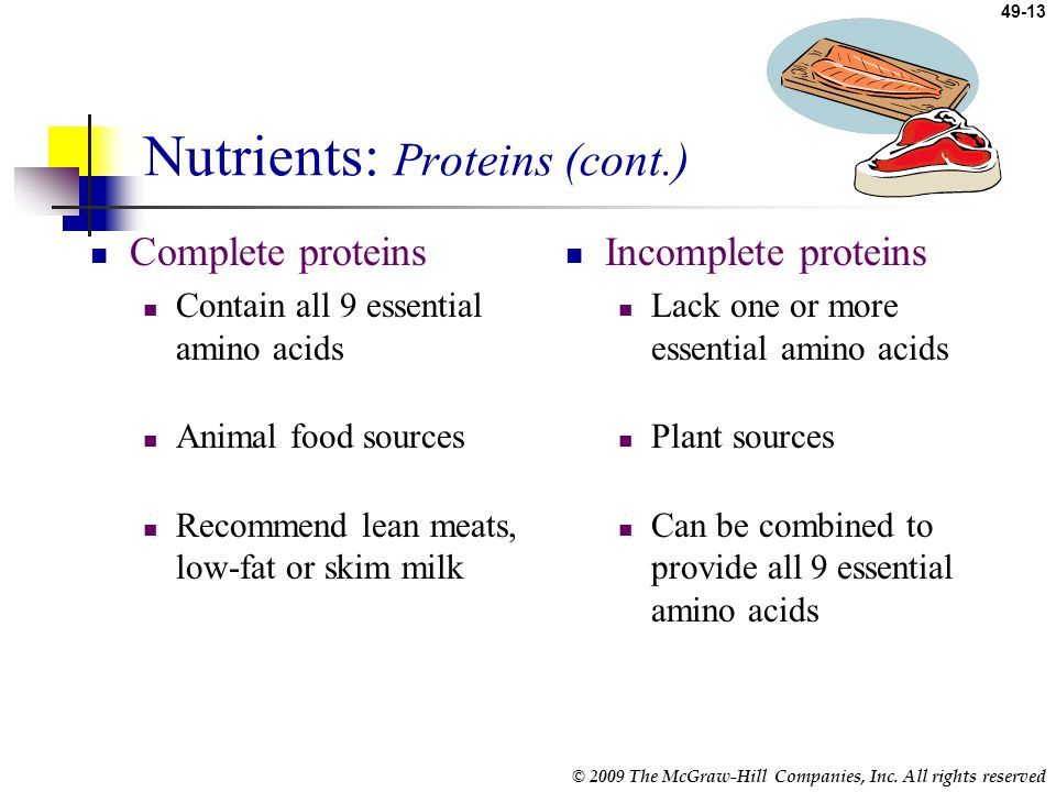 Nutrients: Proteins (cont.)