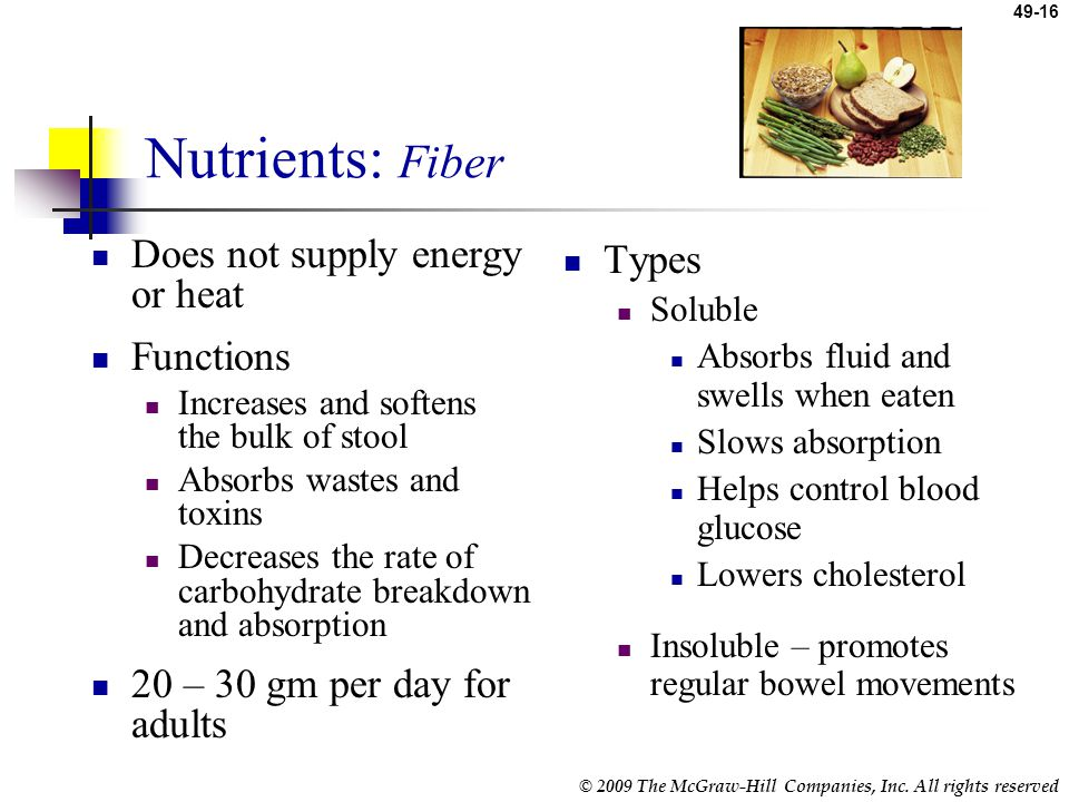 Nutrients: Fiber Does not supply energy or heat Functions