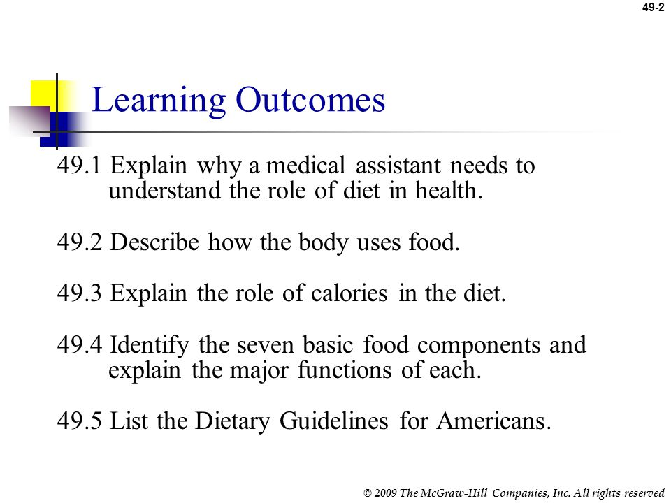 Learning Outcomes 49.1 Explain why a medical assistant needs to understand the role of diet in health.