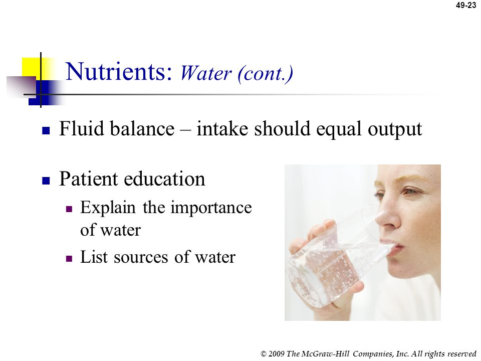 Nutrients: Water (cont.)