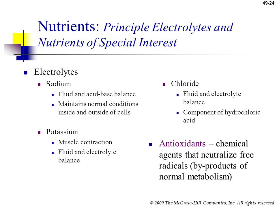 Nutrients: Principle Electrolytes and Nutrients of Special Interest