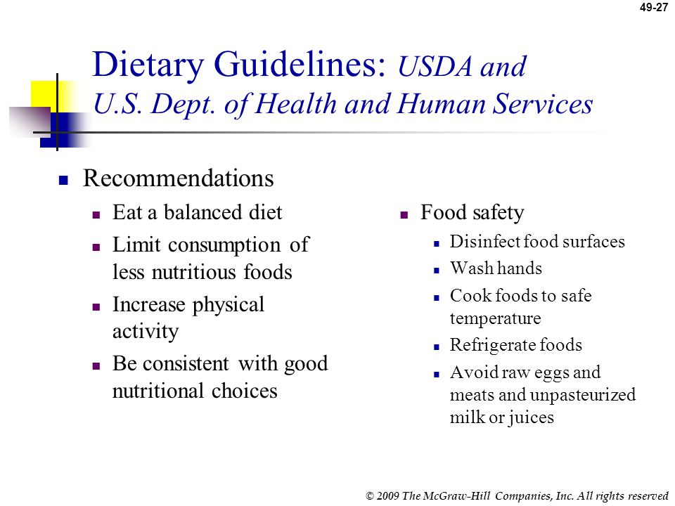 Dietary Guidelines: USDA and U.S. Dept. of Health and Human Services