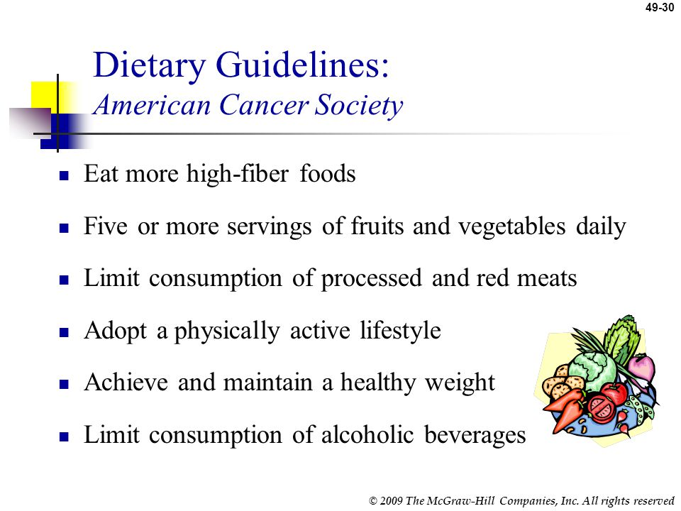 Dietary Guidelines: American Cancer Society