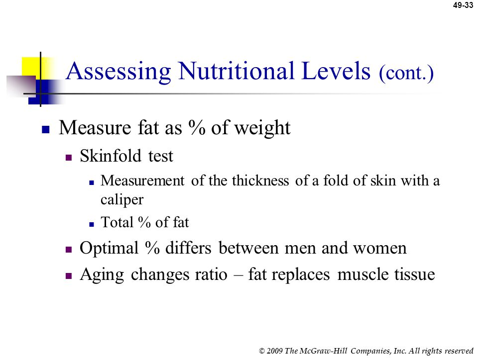 Assessing Nutritional Levels (cont.)