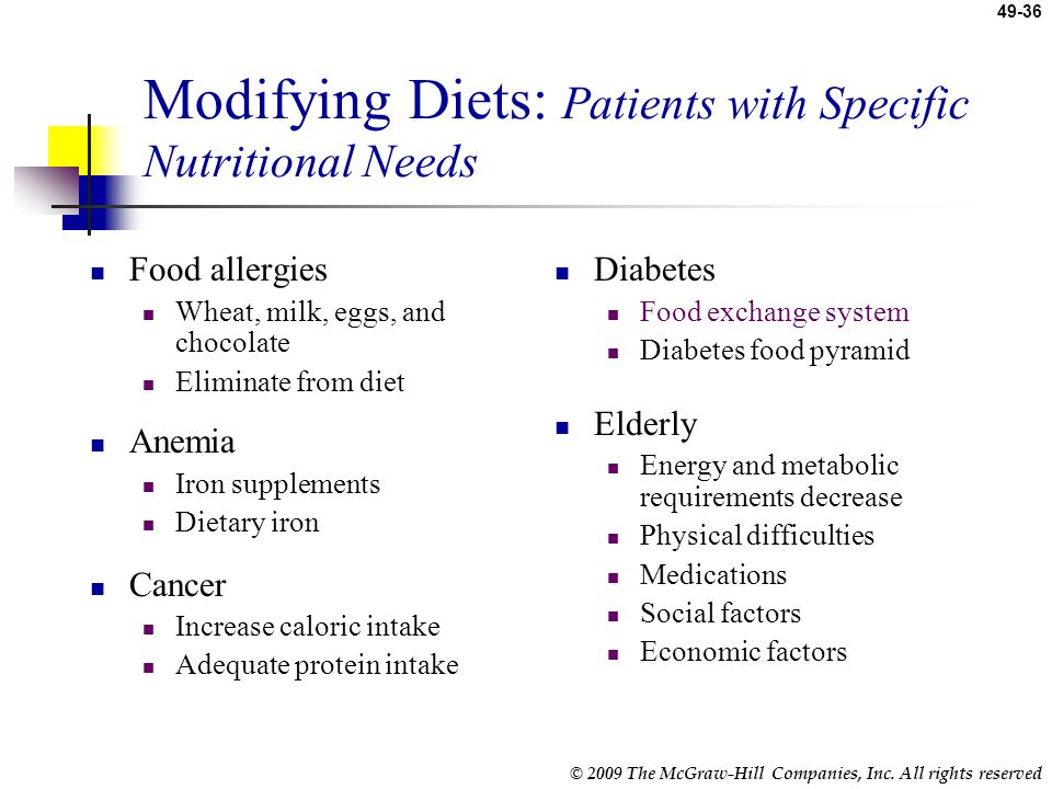 Modifying Diets: Patients with Specific Nutritional Needs