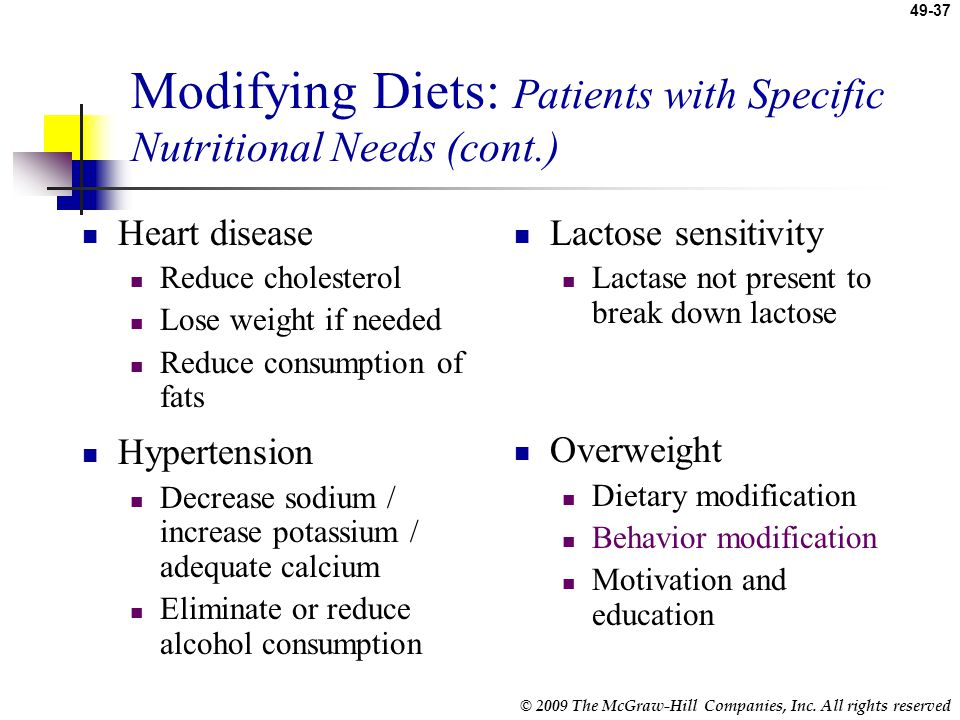 Modifying Diets: Patients with Specific Nutritional Needs (cont.)
