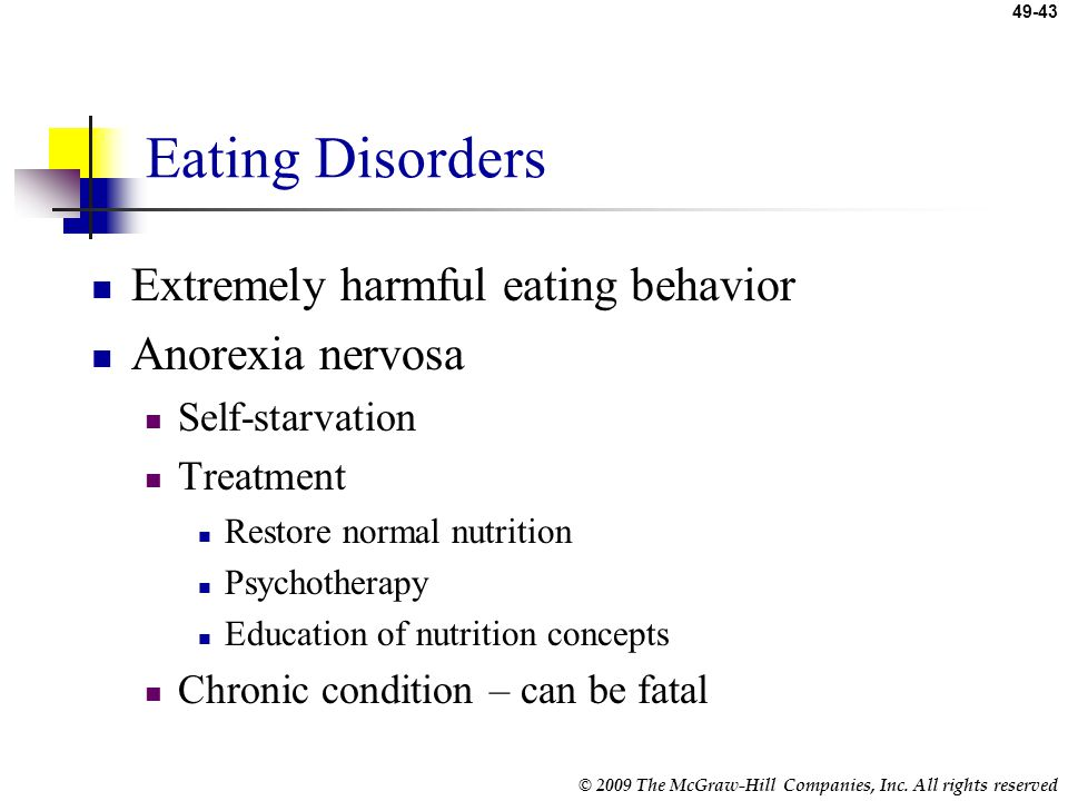 Eating Disorders Extremely harmful eating behavior Anorexia nervosa