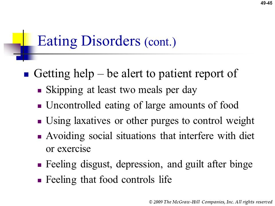 Eating Disorders (cont.)