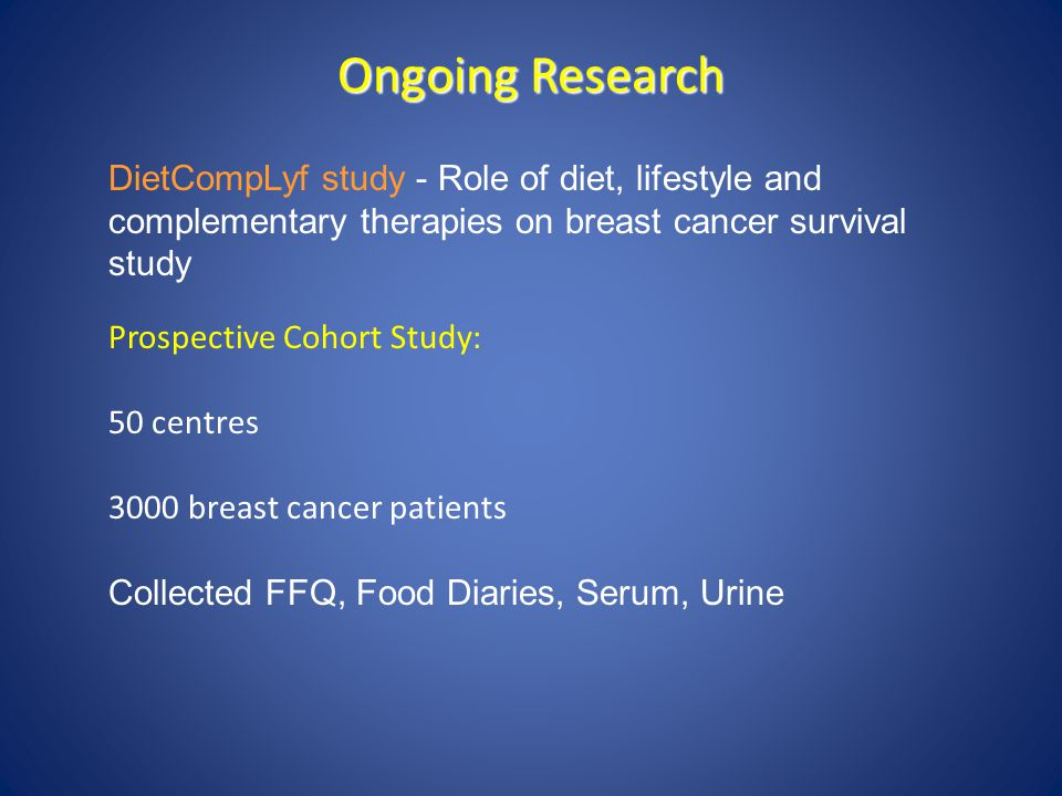 Ongoing Research DietCompLyf study - Role of diet, lifestyle and complementary therapies on breast cancer survival study.