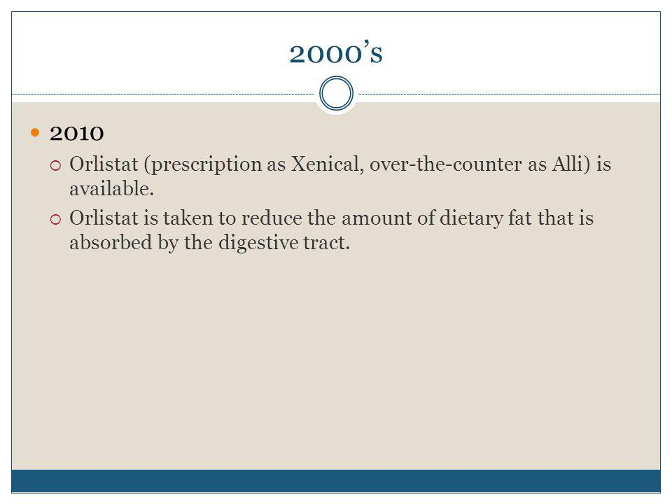 2000's 2010. Orlistat (prescription as Xenical, over-the-counter as Alli) is available.