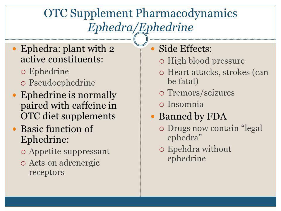 OTC Supplement Pharmacodynamics Ephedra/Ephedrine