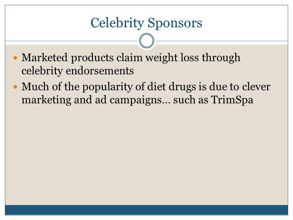 Celebrity Sponsors Marketed products claim weight loss through celebrity endorsements.