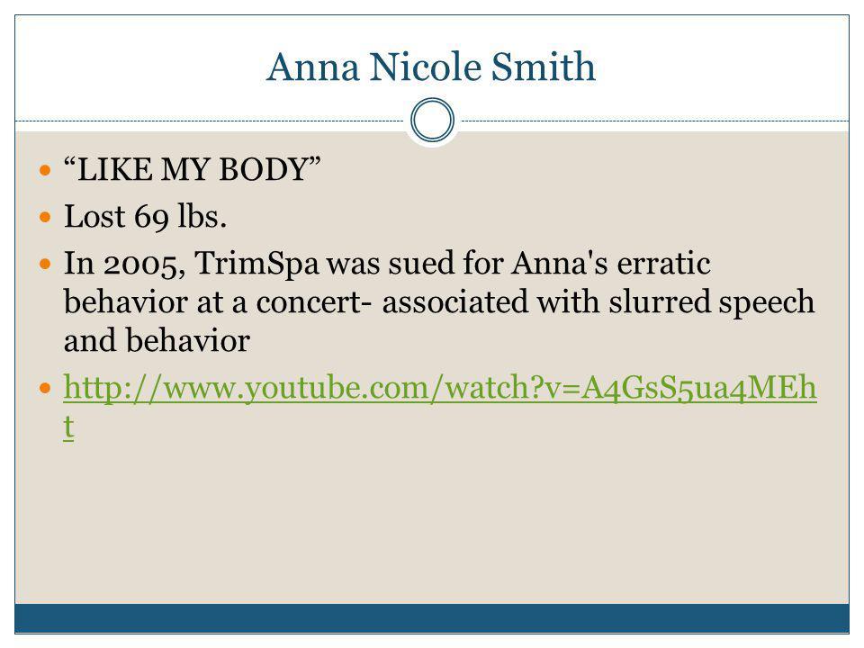 Anna Nicole Smith LIKE MY BODY Lost 69 lbs.