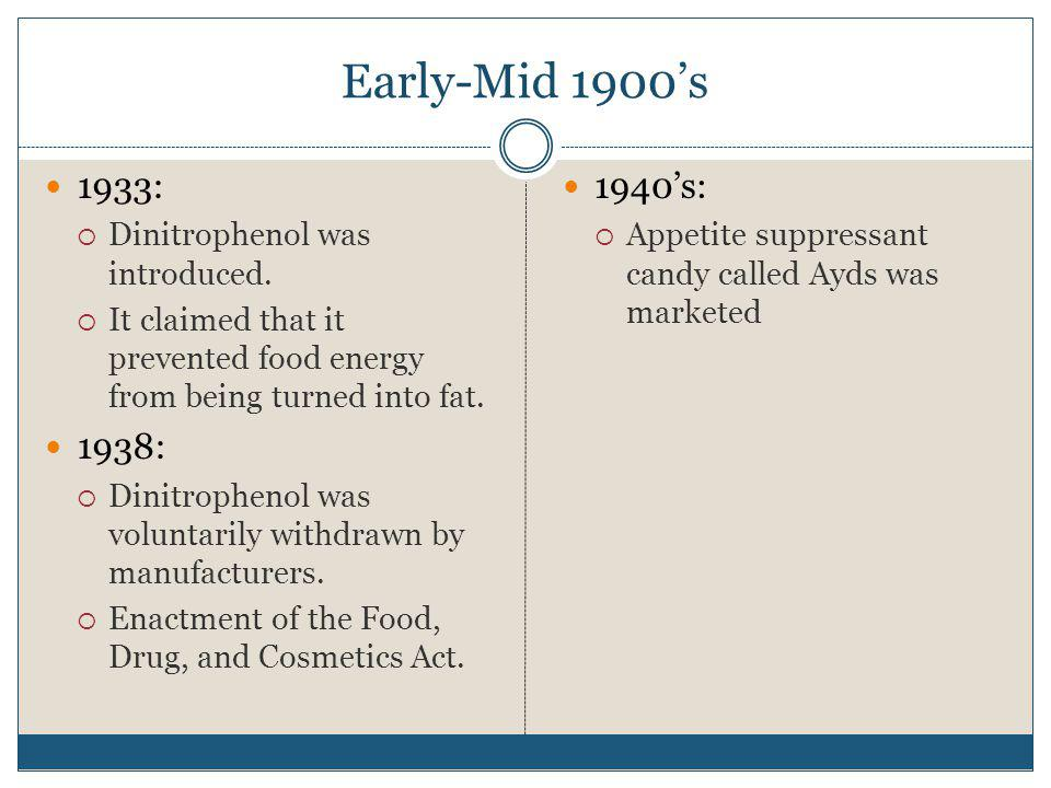 Early-Mid 1900's 1933: 1938: 1940's: Dinitrophenol was introduced.